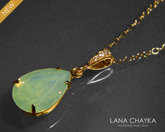 Mariage - Chrysolite Green Opal Necklace Pastel Green Opal Gold Necklace Swarovski Rhinestone Green Opal Teardrop Necklace Bridesmaid Wedding Jewelry
