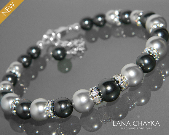 Mariage - Black Light Gray Pearl Bracelet Swarovski Black Gray Pearl Silver Bracelet One Row Pearl Bracelet Wedding Bracelet Black Grey Pearl Jewelry