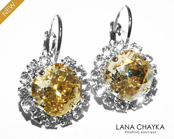 Mariage - Champagne Crystal Halo Earrings Swarovski Rhinestone Champagne Sparkly Earrings Champagne Leverback Wedding Bridal Jewelry Bridesmaids