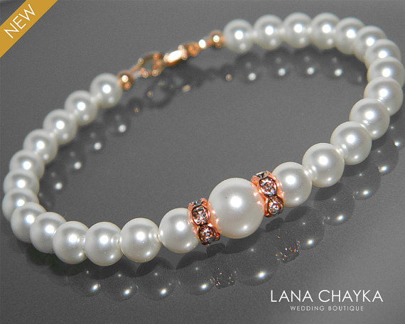Mariage - White Pearl Rose Gold Bridal Bracelet Swarovski Pearl Rose Gold Wedding Bracelet Delicate Pearl Bracelet White Pearls Bridal Jewelry