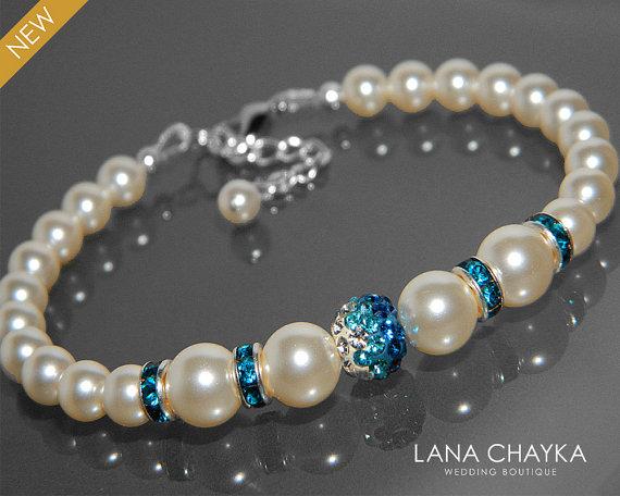 Wedding - Bridal Pearl Bracelet Swarovski Pearl Silver Wedding Bracelet Ivory Pearl Teal Crystal Bracelet Wedding Pearl Jewelry Bridal Pearl Bracelets