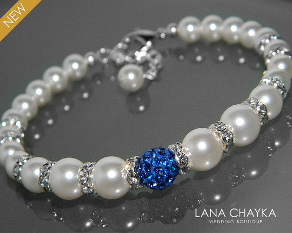 White Pearl Royal Blue Bridal Bracelet Swarovski Silver Wedding Shire Jewelry