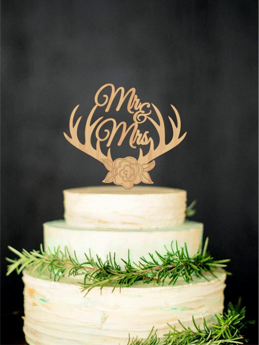 Mariage - Wedding Cake Topper Deer Antlers Mr Mrs Monogram Initial Cake Topper
