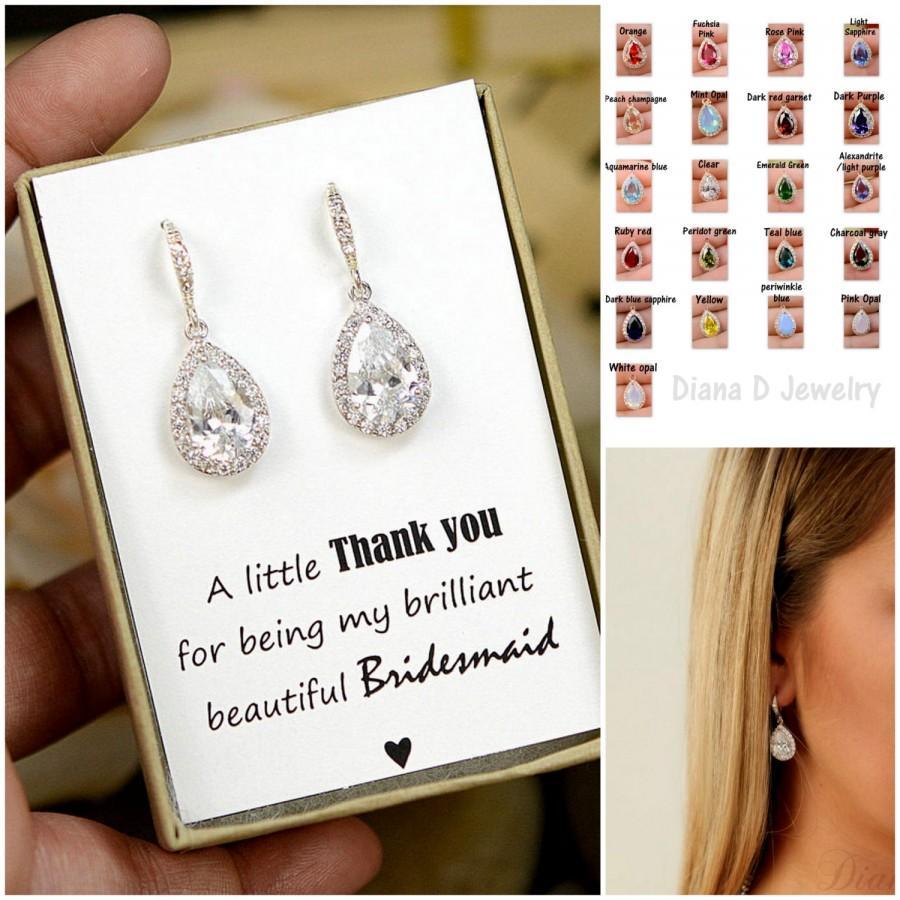 Wedding - Wedding Jewelry Bridesmaid Gift Bridesmaid Jewelry Bridal Jewelry tear Drop Earrings Cubic Zirconia dangle Earrings,bridesmaid gifts
