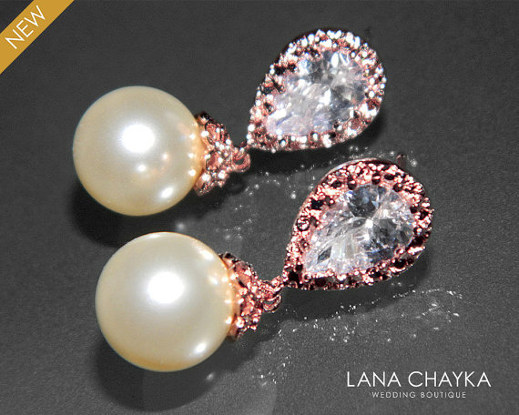 Wedding - Rose Gold Ivory Pearl Bridal Earrings Swarovski 10mm Pearl CZ Rose Gold Earrings Wedding Drop Pearl Earrings Bridal Rose Gold Pearl Jewelry
