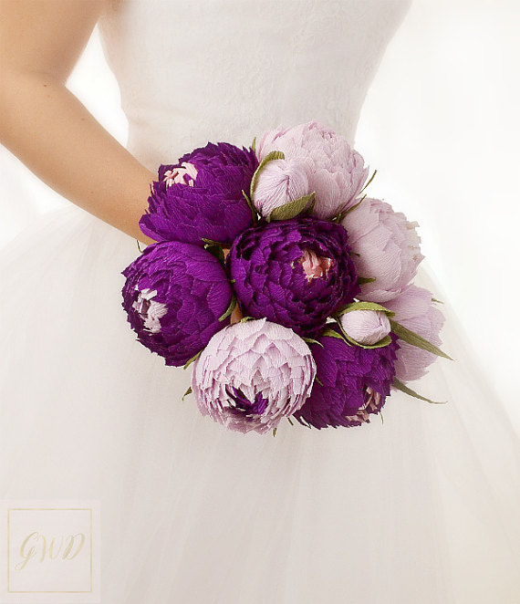 Lavender Purple Wedding Bouquet Flowers Peonies Paper Bridal Bridesmaids Bouquets Dress