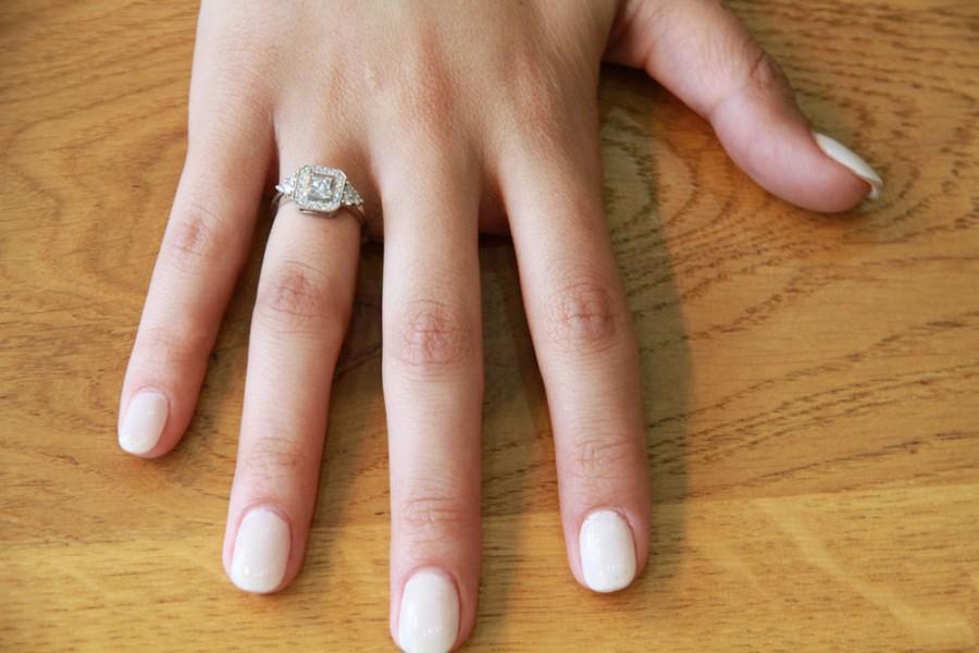 زفاف - Art Deco Engagement Ring, 18K White Gold Ring, Victorian Ring, 0.84 TCW Diamond Ring Setting, Halo Ring, Vintage Rings