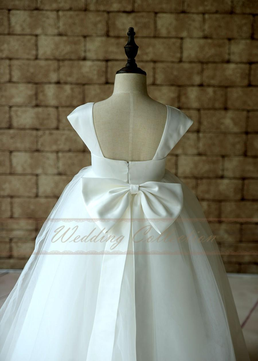 Wedding - Flower Girl Dress Cap Sleeves Tulle Satin Gown Floor Length with Bow