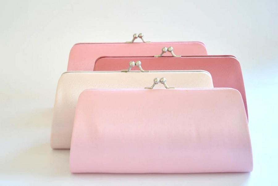 Hochzeit - Set of 7 Satin Bridesmaid clutches / Wedding clutches - Custom Color
