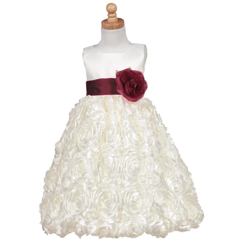 Wedding - Blossom Ivory Satin Bodice w/ Floral Ribboned Skirt & Detachable Sash & Flower Style: BL220 - Charming Wedding Party Dresses