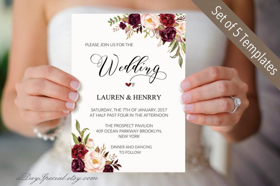 5 burgundy floral wedding invitation templates printable wedding