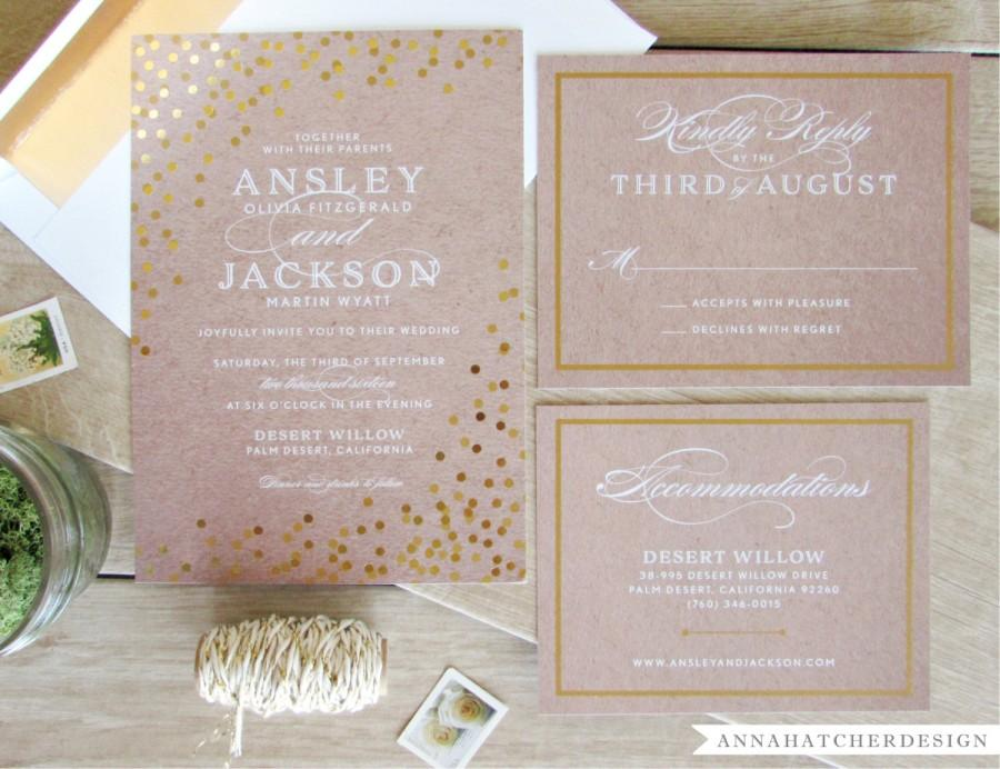 Gold Foil Wedding Invitation With Matching Reply And Enclosure Card ...
