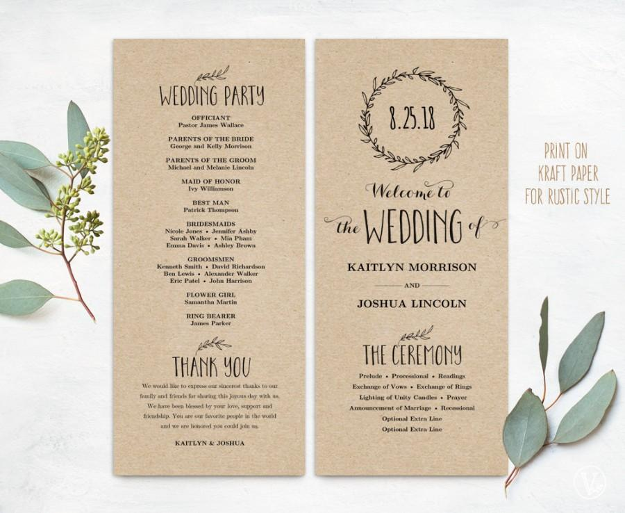 Printable Wedding Programs, DIY Wedding Programs, Simple Wedding ...