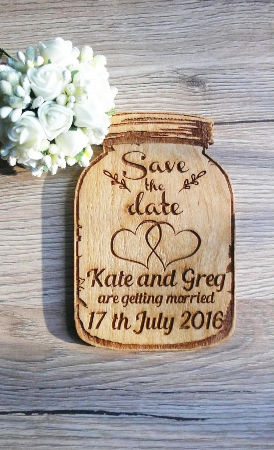 Wedding - 10 Mason Jar Save The Date Magnets Wood Mason Jar Wedding Favor Wooden Magnets Wooden Mason Favor Rustic Save The Date Wedding Invitation