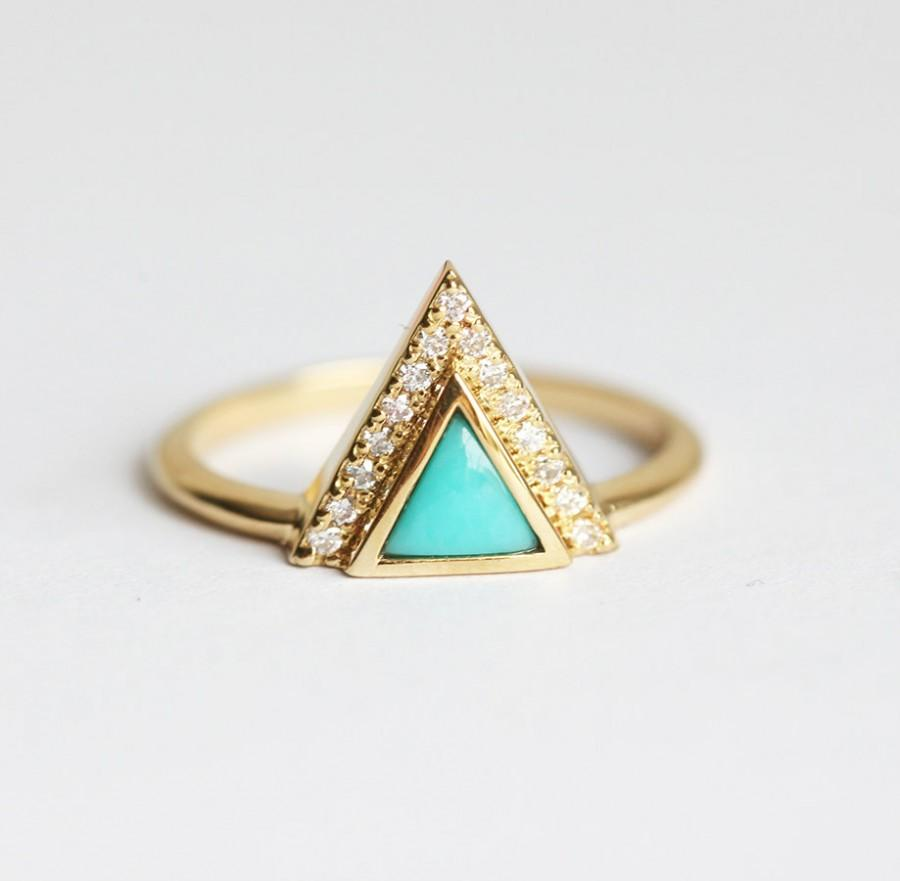 Wedding - Trillion Turquoise Ring, Unique Turquoise Ring, Turquoise Engagement Ring, Triangle Turquoise Ring, 18k Yellow Gold