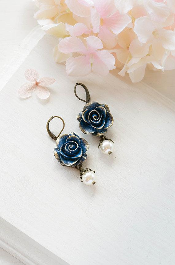 زفاف - Navy Blue Rose Cream White Pearl Dangle Earrings Gold Navy Blue Wedding Bridal Earrings Bridesmaid Gift Valentines day gift for her