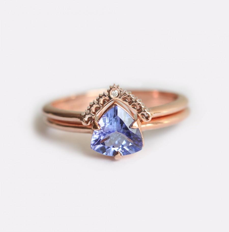 زفاف - Rose Gold Engagement Ring, Tanzanite Engagement Ring, Tanzanite Wedding Ring Set, Tanzanite Ring with Diamond Lace Band, Rose Gold Set