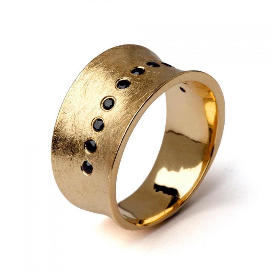 زفاف - LUNA Gold Band Ring, Gold Wedding Band, Wide Gold Band, Wide Wedding Band, Promise Ring, Gemstone Wedding Band