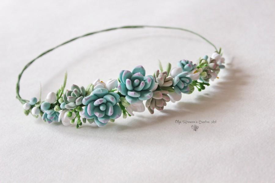 Hochzeit - Wedding Blue succulents headband Bridal head wreath with succulents and flowers boho floral crown Wedding floral tiara Flower crown