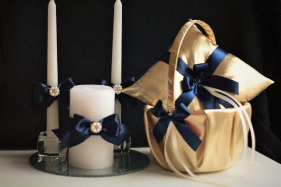 Wedding - Gold Navy wedding basket   Gold Ring Bearer Pillow   Navy unity candles  Navy Wedding Candles  Navy flower Girl Basket  Navy Ring Holder
