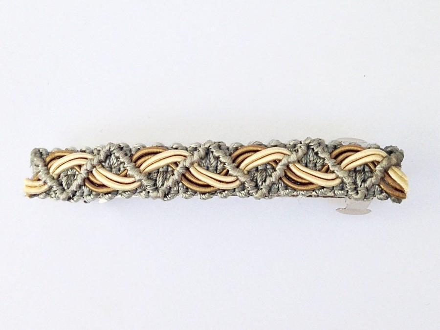 Hochzeit - Silver Fabric Trim Hair Clip, Elegant Wedding Hair Clasp, Accessory Bridesmaids French Barette, Beige & Ivory Braided Barrette