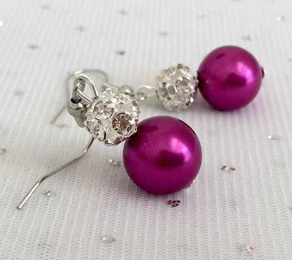 Свадьба - Fuchsia Bridesmaid Rhinestone Pearl Earrings, Magenta Wedding Jewelry Sets, Dark Pink Bridesmaid Earrings Jewelry Gift, Fuchsia Wedding