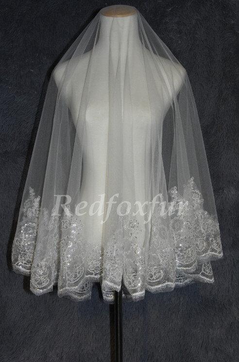 Mariage - Lace edge wedding veil,Bridal veil,white ivory Long veil, sparkly sequined veil ,1.5m