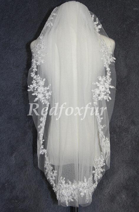 Wedding - Lace applique Bridal veil,sequin veil,1 Tier Fingertip length wedding veil,With comb