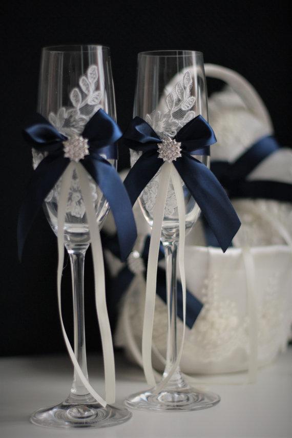Navy Blue Wedding Glasses Navy Champagne Glasses Wedding Glasses ...