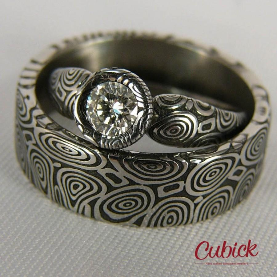 Deluxir Wedding Rings With Diamond Bands Damascus Steel Womans Ring Damasteel