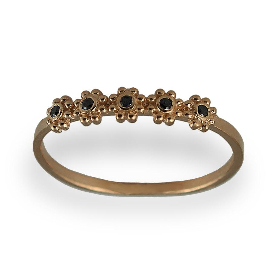 Mariage - Rose Gold Ring, 5 Flowers Gold Ring, Black Diamond Wedding Ring, Diamond Wedding Ring, Christmas Gift For Her, 14k Gold and Diamond Ring