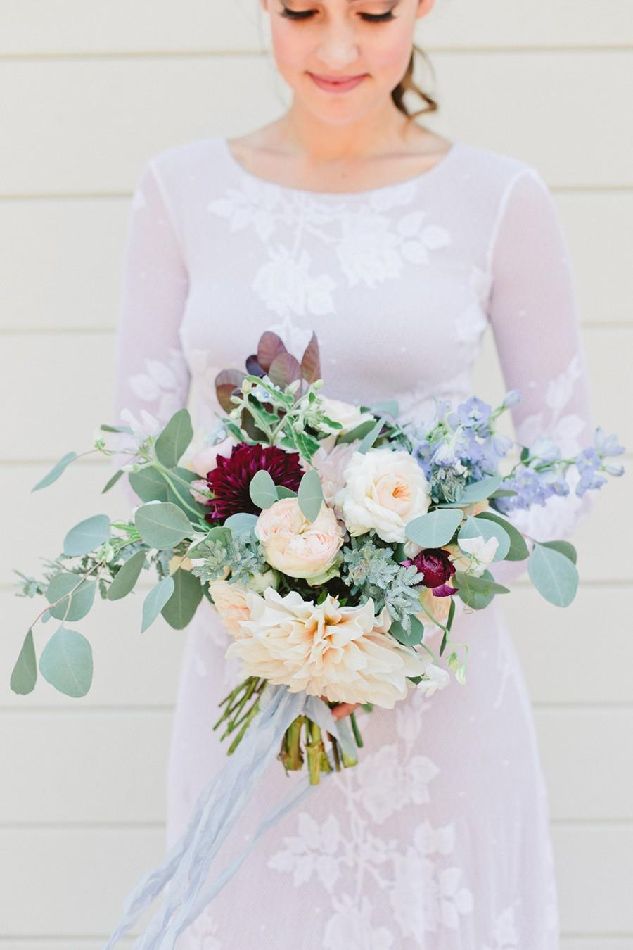 Mariage - Long Sleeve Boho Wedding Dress, Boho Wedding Dress, Lace Wedding Dress, Simple Wedding Dress - Senia Dress