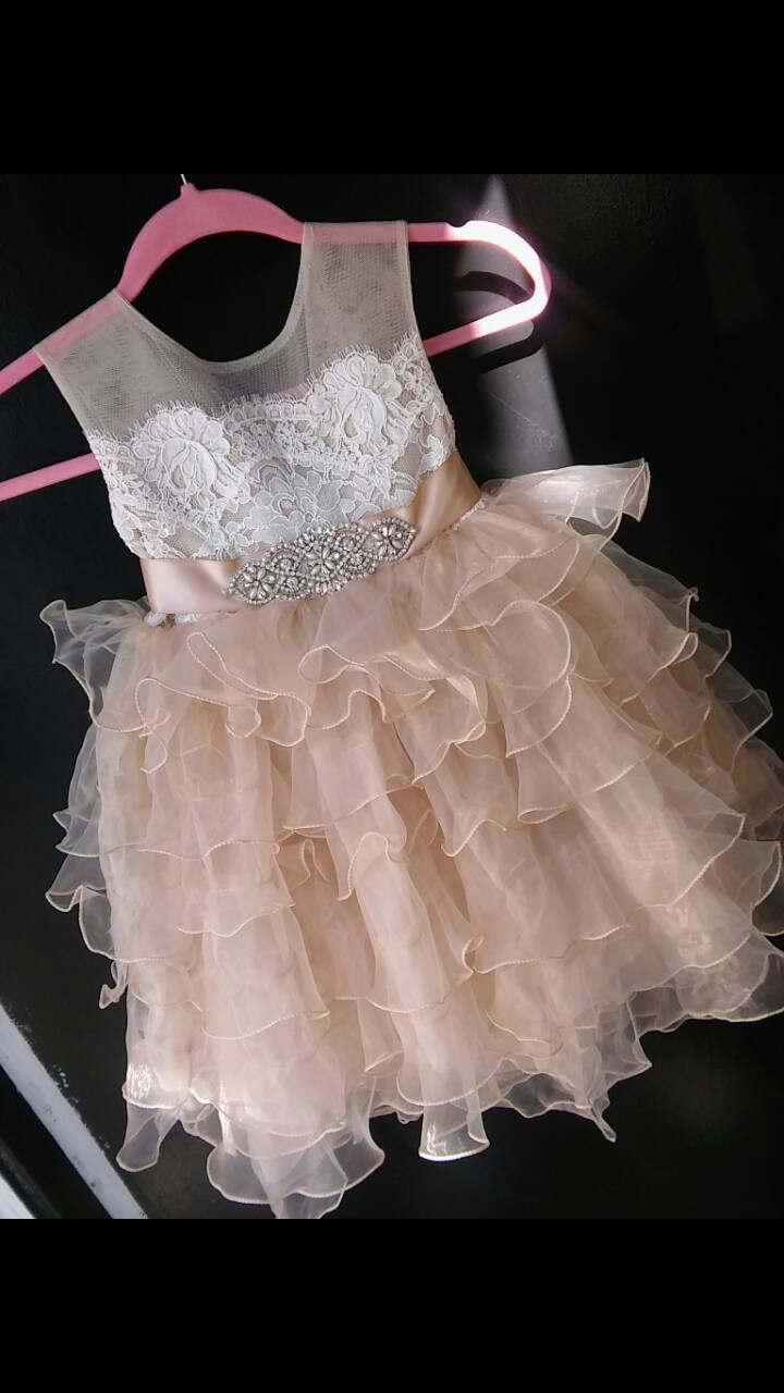 Mariage - Tea lenght  champagne 'Daisy' flowergirl dress with French lace, rhinestone sash and organza skirt, birthday dress,  pageant dress