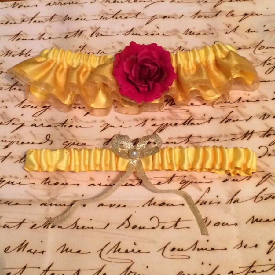 Mariage - Beauty and the Beast Inspired Garter Set