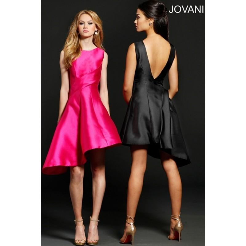 Mariage - Jovani 214018 Short Dress Scoop Neck Open Back Asymmetrical Skirt - Jovani Scoop Social and Evenings Cocktail Asymmetrical Dress - 2017 New Wedding Dresses