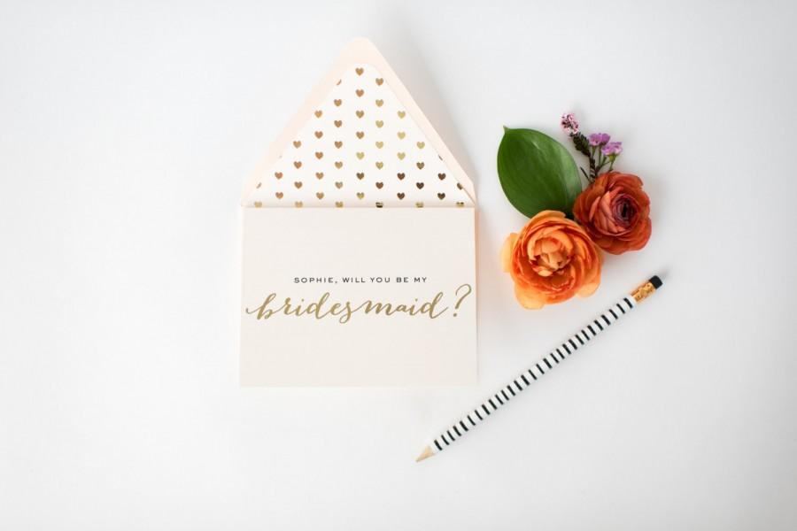 Hochzeit - personalized gold foil will you be my bridesmaid cards + lined envelopes  // lola louie paperie