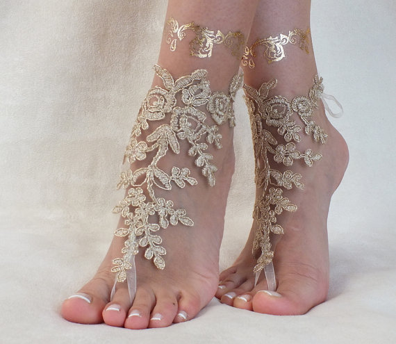 Wedding - Gold Beach wedding barefoot sandals, french lace sandals, wedding anklet, Beach wedding barefoot sandals, embroidered sandals