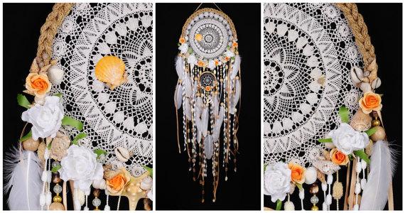 Hochzeit - White Dreamcatcher Wedding Mermaid Сrescent Dream Catcher Large Dreamcatcher beigedreamcatchers boho dreamcatcher wall decor white wedding