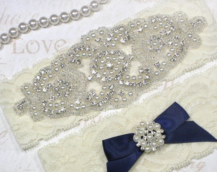 Свадьба - SALE - ALANA II - Stretch Lace Garter, Pearl Wedding Navy Garter Set, Rhinestone Crystal Bridal Garters, Keepsake Garter, Something Blue
