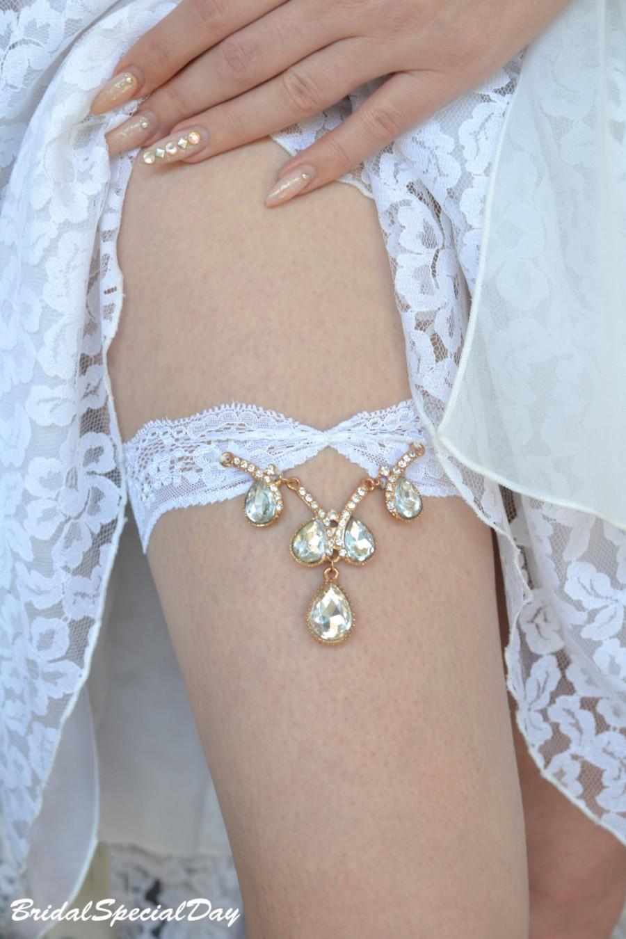 Wedding - Gold Wedding Garter, Rhinestone Garter, Lace Garter Set, White Bridal Garter, Unique Garter, Bridal Garter, Handmade Garter, Gold Garter Set