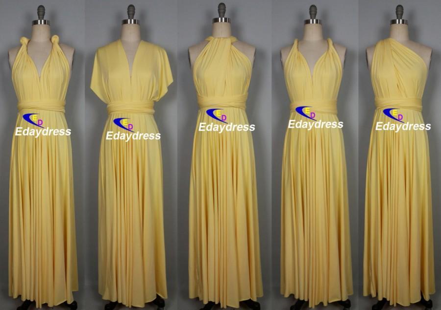 Wedding - Maxi Full Length Bridesmaid Convertible Wrap Dresses Multiway Long Pastel Yellow Infinity Dress