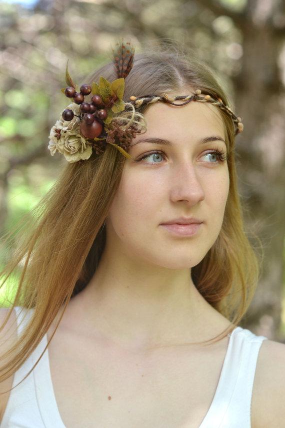 Bridal Hair Accessories Boho : Brown flower crown burlap head wreath boho hair accessory acorn