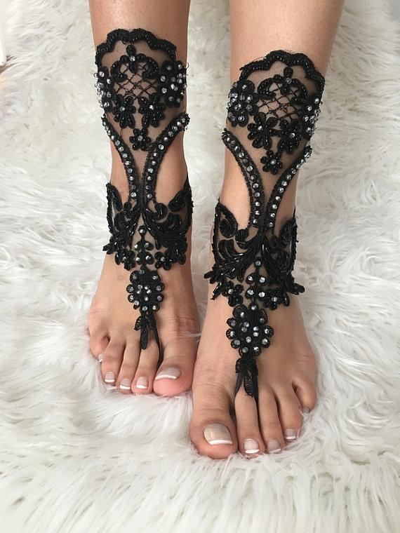 Wedding - FREE SHIP Black lace barefoot sandals, beach wedding, gothic, belly dance, goth wedding, bridesmaid gift, beach shoes