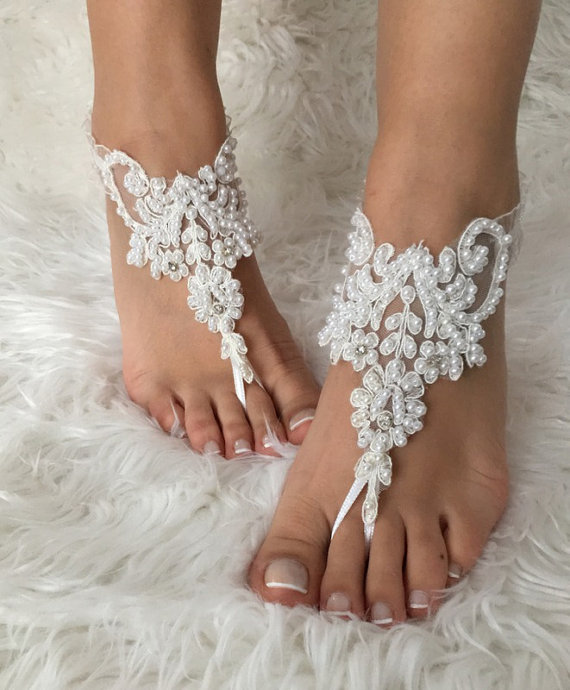 Hochzeit - White pearl lace barefoot sandals, FREE SHIP, beach wedding barefoot sandals, bridal anklet, lace shoes, bridesmaid gift, beach shoes