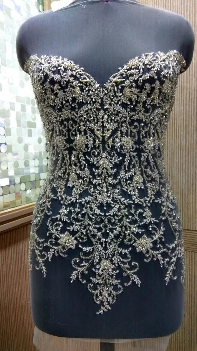 Hand beaded and embroidered wedding dress bodice in over for Hand beaded wedding dresses