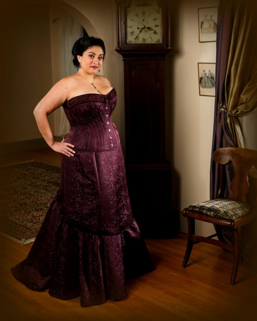 Plus size wedding corset gown burgundy brocade curvy for Corset for wedding dress plus size
