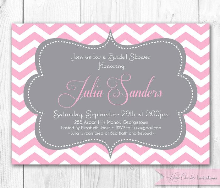 Chevron Bridal Shower Invitation. Pink U0026 Gray Chevron Or Damask Invitation.  DIY Printable Bridal Shower, Baby Shower Or Brithday Invite.