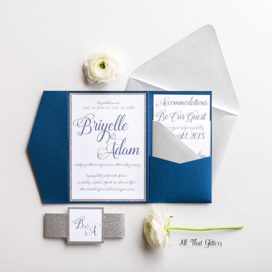 Hochzeit - Navy and silver wedding invitations