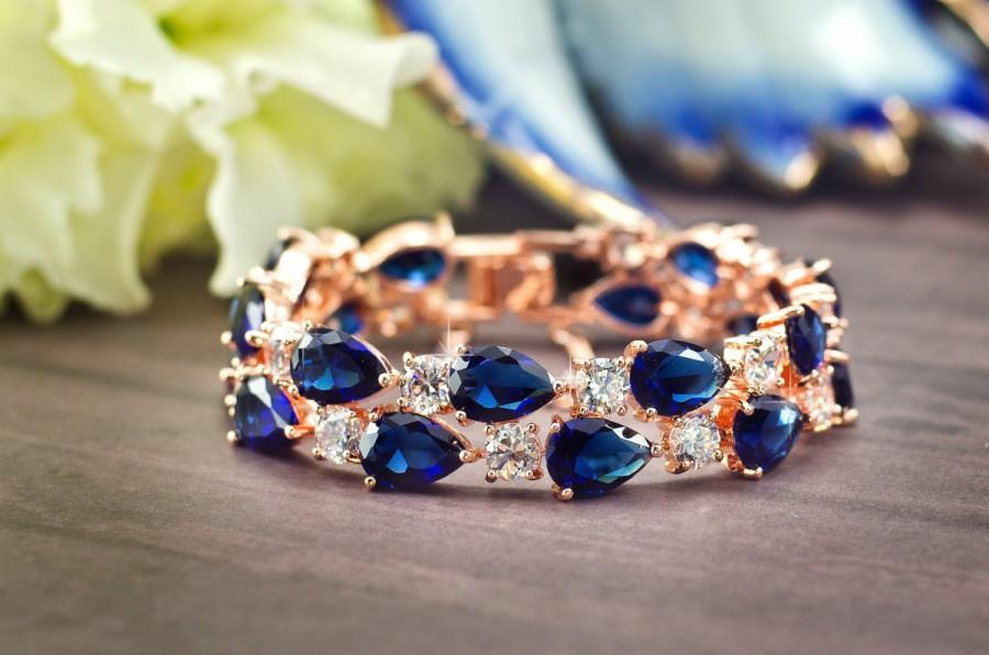 Sapphire Blue Bracelet Rose Gold Bridal Bracelet Bridal Cuff