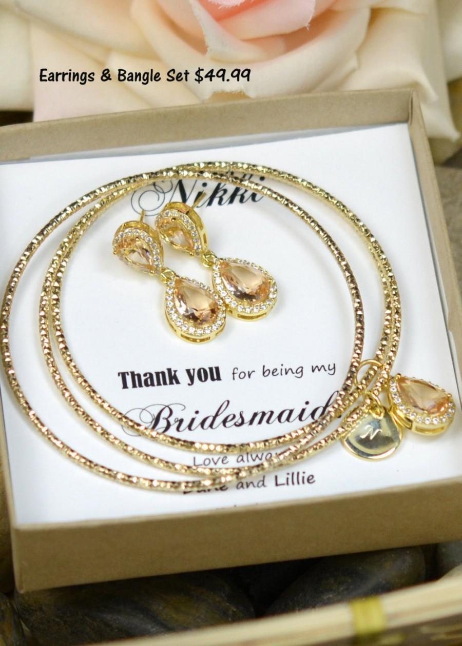Mariage - Bridesmaid jewelry,Bridal bangle bracelet Wedding Dangle Earrings Bridal Jewelry gold Peach champagne Drop Earring bracelet  Bridesmaid Gift